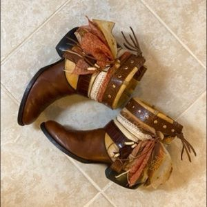 Tan Leather Ankle Boots Vintage UPCycled Cowgirl